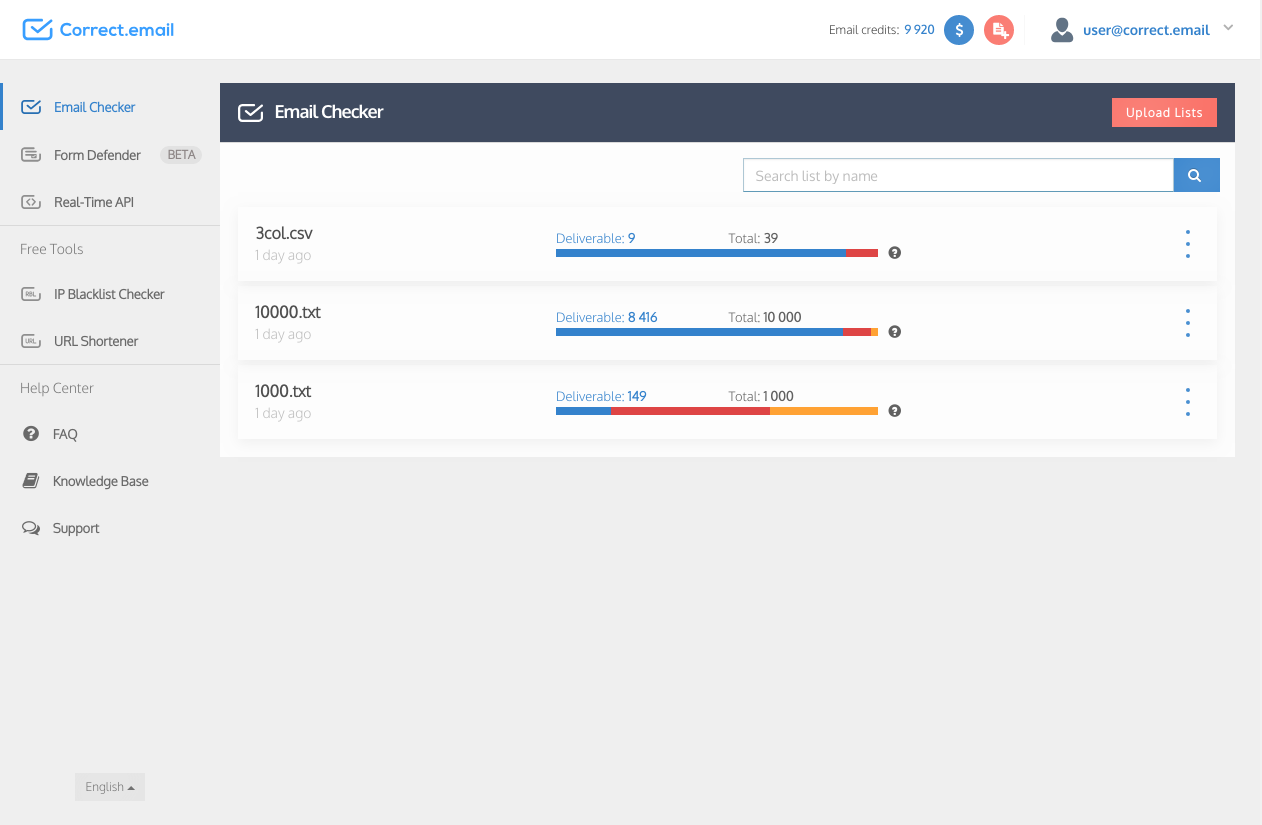 Email Checker dashboard panel