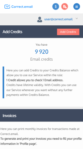 Payments panel - where to see email credits on mobile